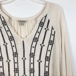 Lucky Brand Embroidered Split Neck Ivory Blouse
